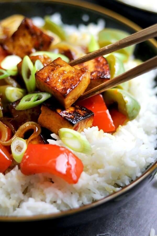 Crispy Sesame Tofu with Peppers