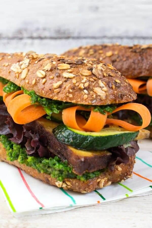 Tofu and Kale Pesto Sandwich