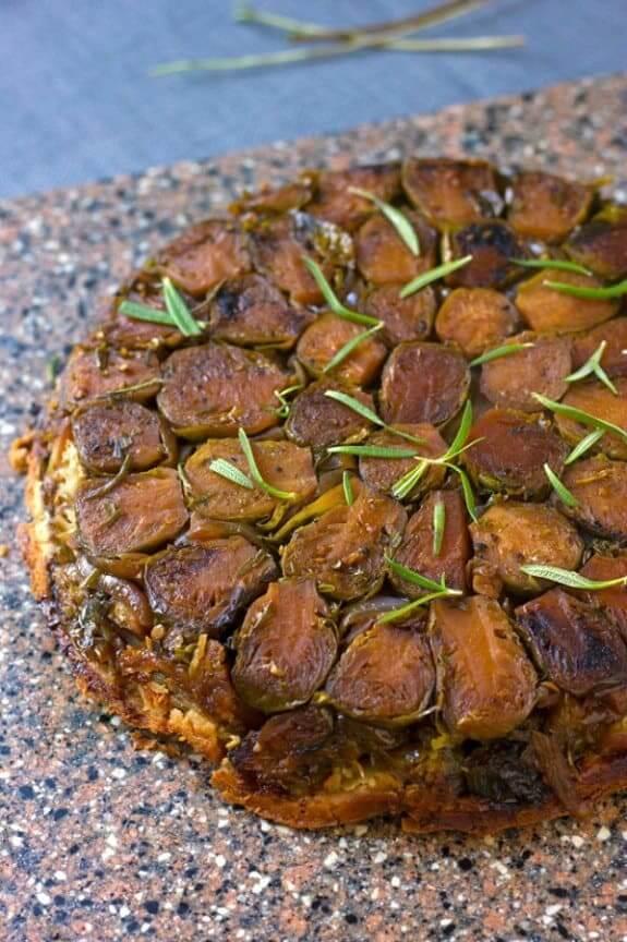 Vegan Balsamic Brussels Sprout Tarte Tatin