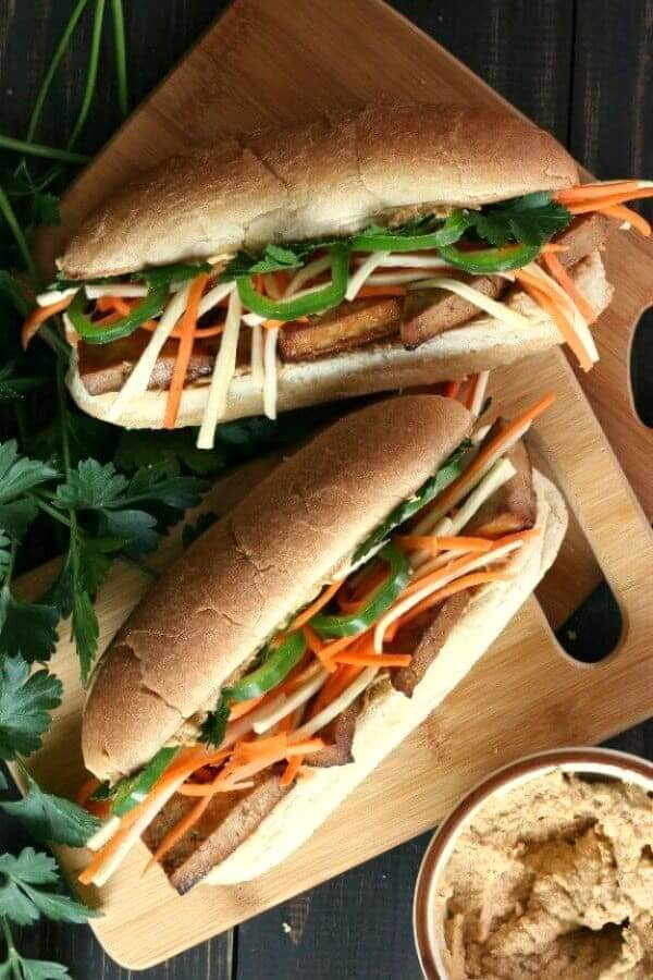 Vegan Banh Mi Sandwich with Spicy Tofu