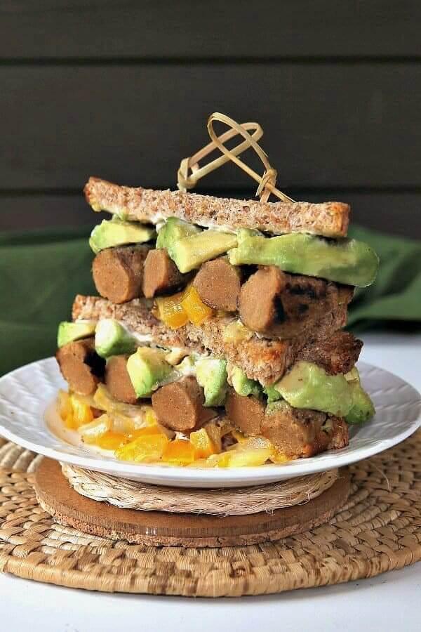 Vegan Sausage Sandwich with Tender Slow Cooker Seitan