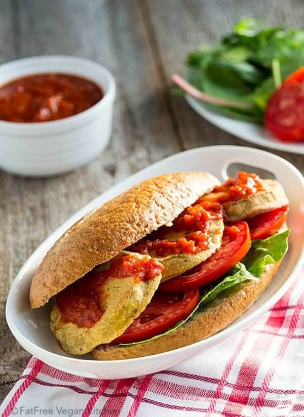 Oven-Fried Eggplant PoBoy Sandwiches | FatFree Vegan Kitchen