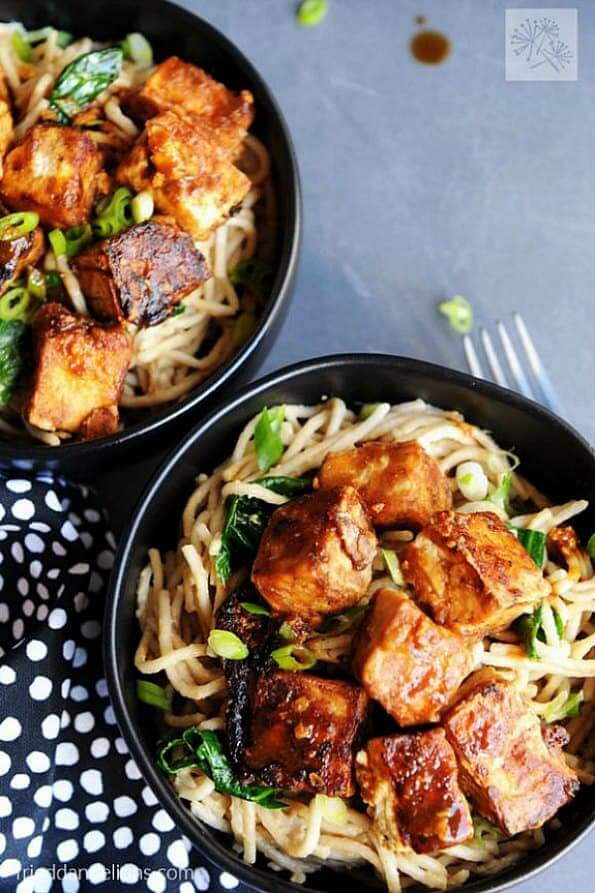 Fried Tofu with Hoisin and Peanut Sauce Noodles