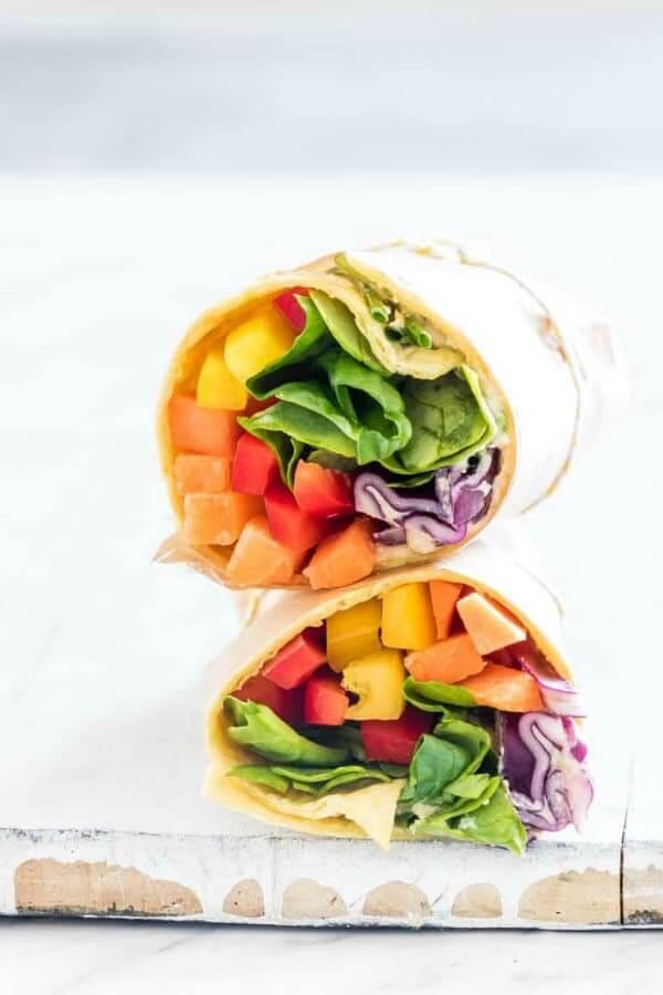 Vegan Rainbow VegetableTortilla Wrap