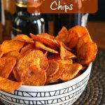 Air Fryer Sweet Potato Chips are overflowing a geometric black and has text on the top.