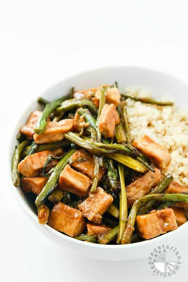 Teriyaki Tofu Stir Fry Over Quinoa
