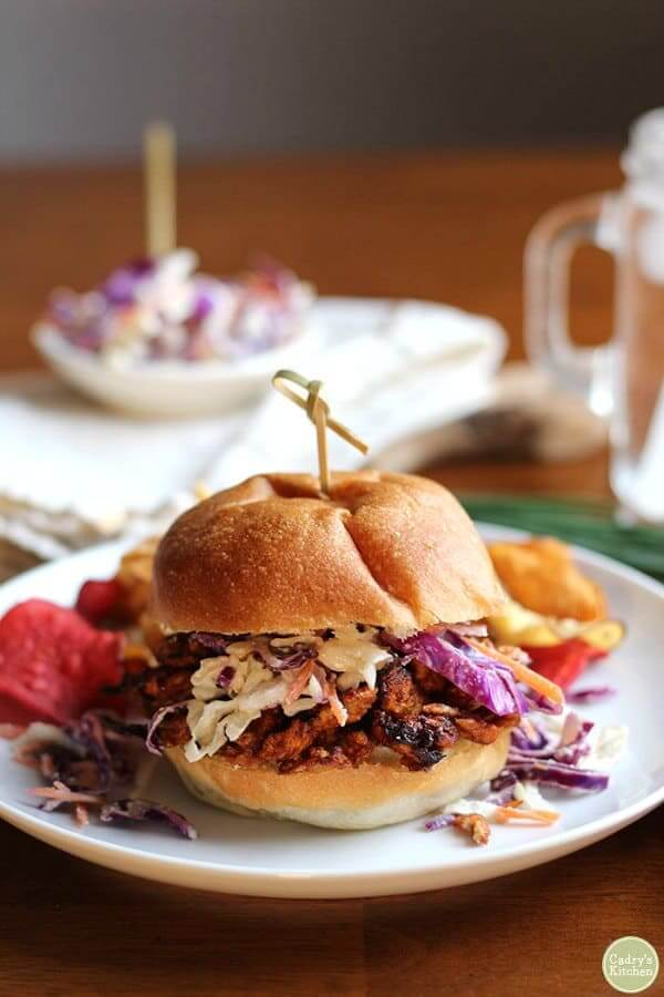 Vegan BBQ Sandwich with Soy Curls & cole slaw
