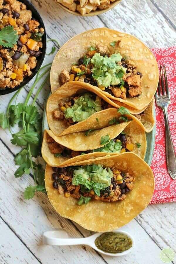Vegan breakfast tacos with tofu & black beans
