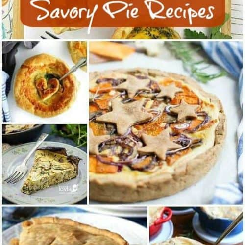 Collage of 6 of the 17 Vegan Quiche and Savory Pies featured. All different size boxes in collage.