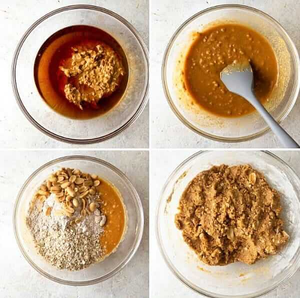First four photos showing the process for mixing the ingredients for Vegan Peanut Butter Cookie Dough.