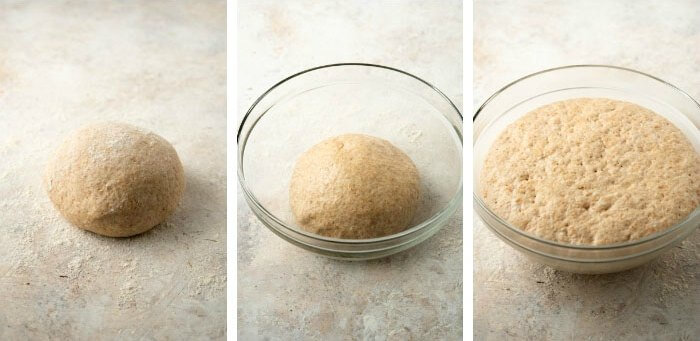 The rising process of pizza dough in three process shot. A firm balls to puffed up dough.