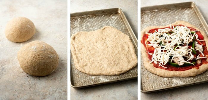 Three photos of the final process of the pizza dough rising, being rolled out and toppings added.