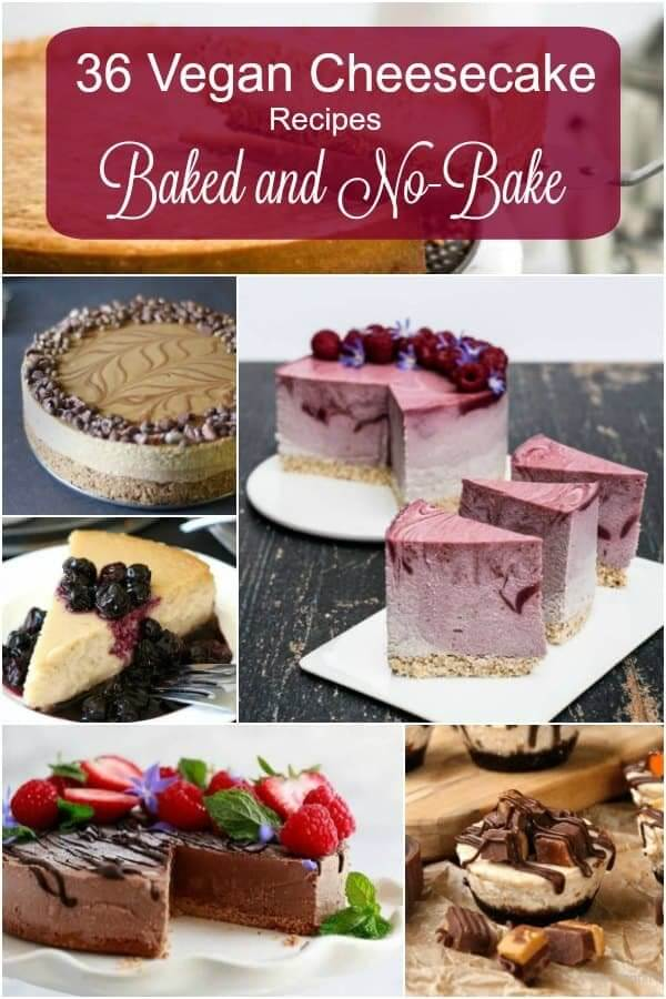 Six photos of vegan cheesecakes in a collage with title at the top.