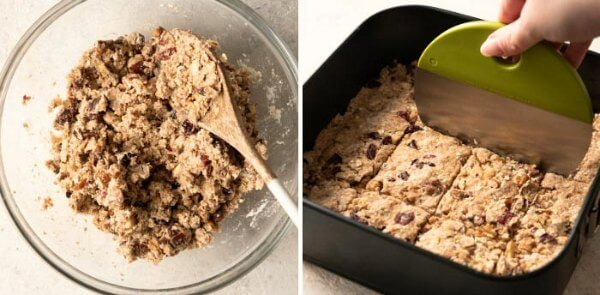 Two process shots for mixing ingredients into a bowl and pre-scoring before baking.