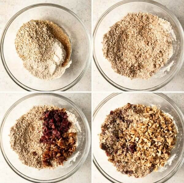 Four process shots for mixing ingredients into a bowl in preparation for snack bars.