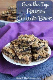 Oatmeal Raisin Bars are cut into squares and stacked high on a white plate.