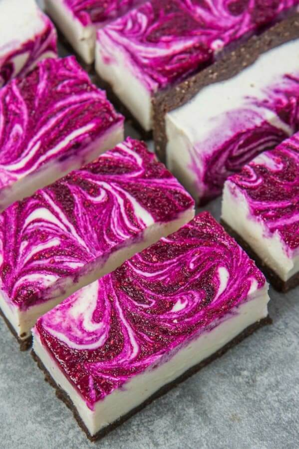Vegan dragon fruit cheesecake bars