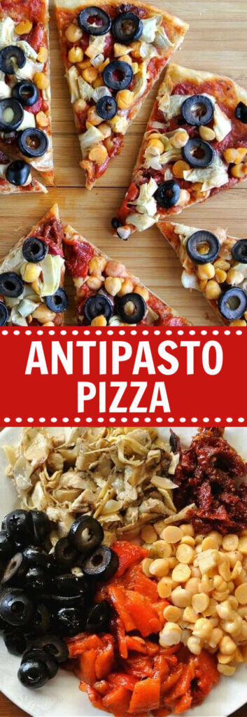 Two photos one above the other with slices of antipasto pizza above and the indgredients for the topping below. Text in the center for pinning.