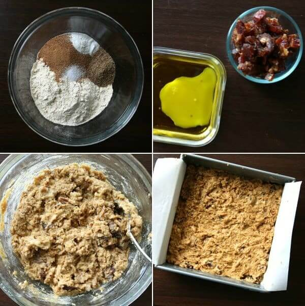 Overhead photo of four differnt photos showing ingredients and procedures for making date banana bread.