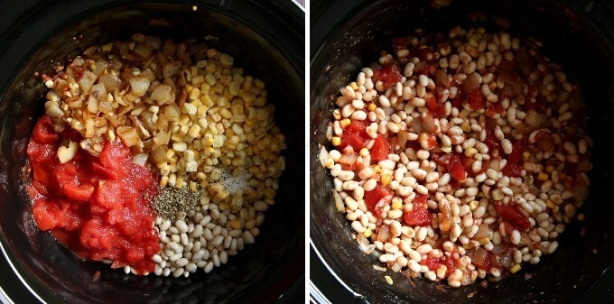 Two photos showing measured ingredients in the slow cooker and one showing the ingredients all mixed together.