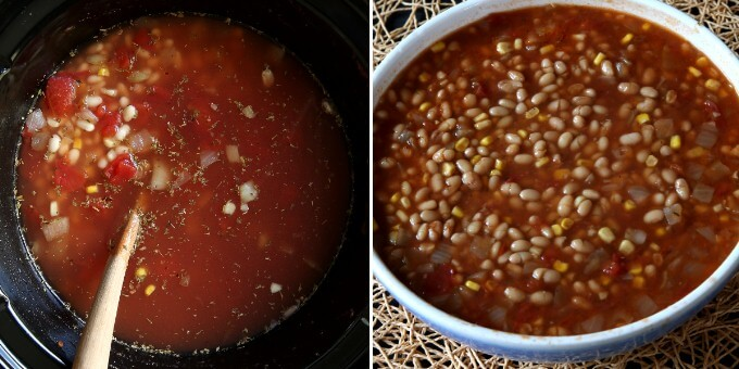 Two photos showing the liquid added to the soup ingredients and then after it is cooked with enough broth for a delicious soup.