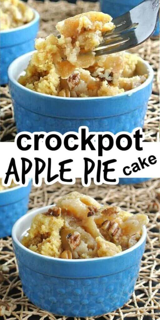 Two pictures one above the other showing cooked apple pie cake in a blue bowl and a fork full being lifted towards the lens/