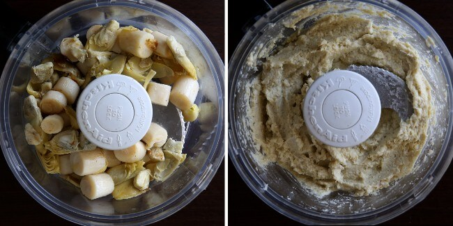 Overhead view of two photos - one with roasted veggies in a food processor and one with creamed veggies.