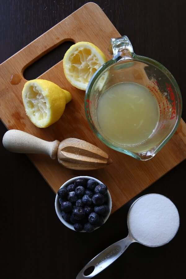 Overhead view of the three ingredients used for Lemonade Pops.
