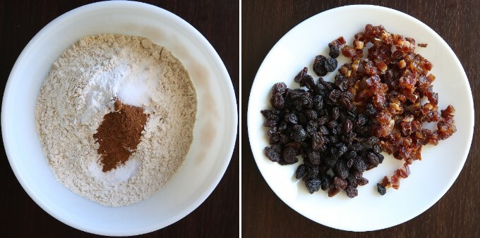 Two process photos - one with flour and baking agents and spices and One photo is diced dates and raisins.