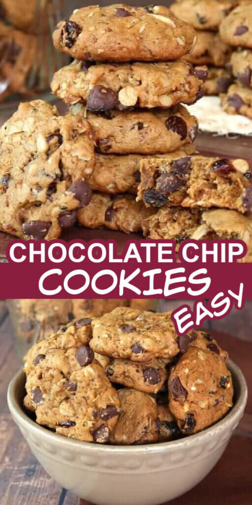 Two photos with a bowl full of chocolate chip cookies and a stack with broken cookies in front to see all the goodies inside.