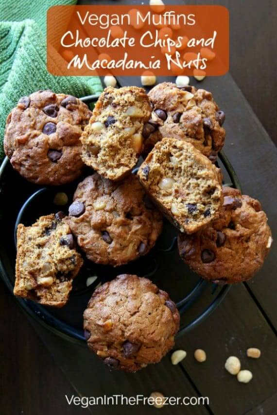 Overhead view of muffins strewn across a cooling rack with text across the top and bottom.