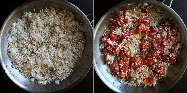 Overhead view of toasting rice and then adding roasted tomatoes for Vegan Oven Risotto.