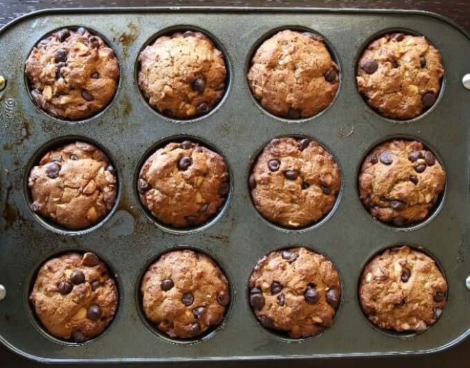 Overhead view of a twelve cup muffin tin filled and baked to perfection.