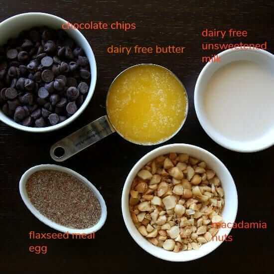 Overhead view of the measured wet ingredients with their names in printed text.