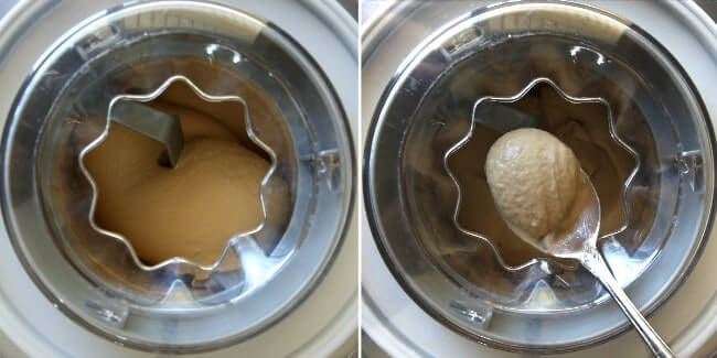 Overhead photo into an ice cream maker showing two process for making Speculoos Cookies butter ice cream.