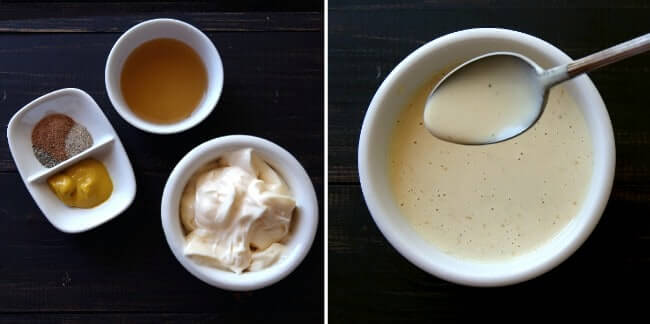 Overhead view of two photos. One has the dressing ingredients and the other show the creamy mixed dressing.