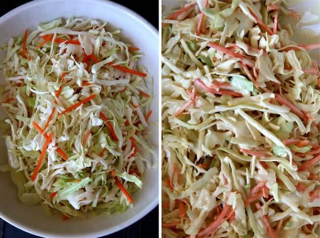 Overhead view of two photos. One with fresh coleslaw mix and one tossed with the creamy dressing.