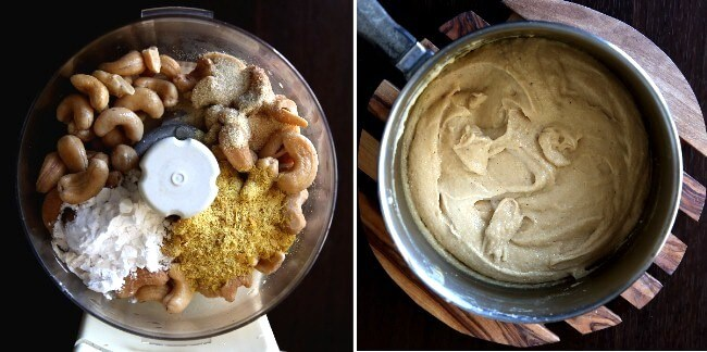 Two overhead photos showing ingredients on a blender for vegan nacho cheese and a pan with the ingredients being thickened.