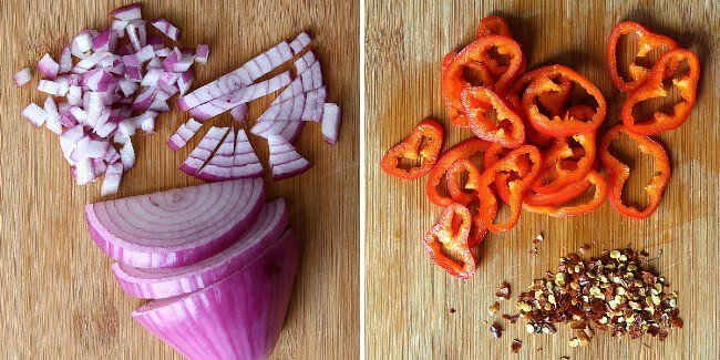 Two photos showing how to finelt chop onion and thinly slice peppers.