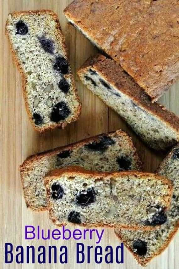 Overhead view of Blueberry Banana Bread slices and loaf. Text above.