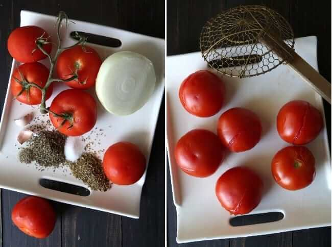 Two photos showing fresh tomatoes with spices and one photo showing split skins for peeling tomatoes.