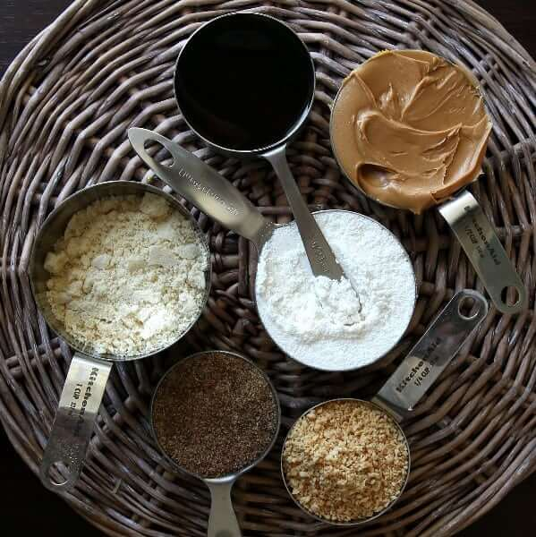 Overhead photo of the ingredients for healthy energy balls.