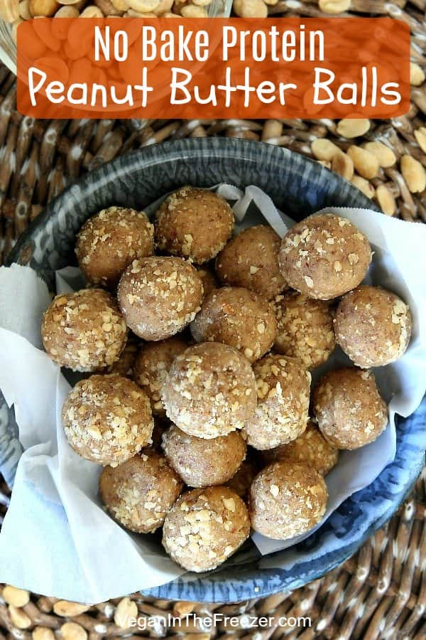 Overhead photo of Peanut Butter high protein balls in an enamelware bowl.