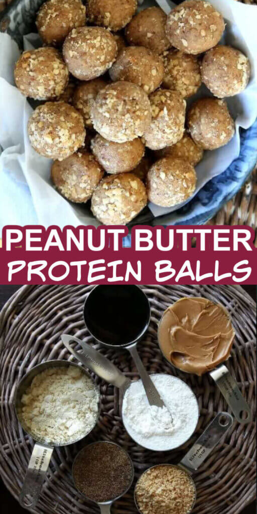 Two photos with Peanut butter balls in blue speckled enamelware and all of the ingredients in their own little containers.