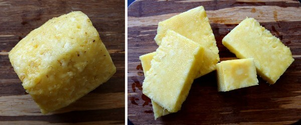 Two photos showing a pineapple and how to core it.