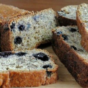 Closeup view of slices of Blueberry banana bread.