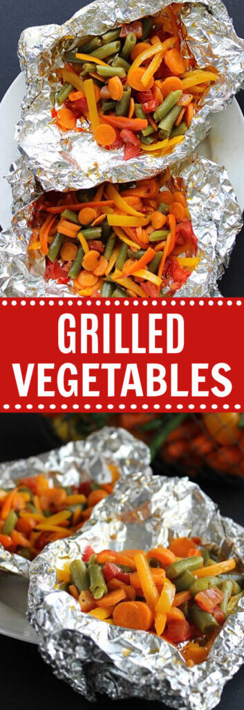 Two photos one above the other showing pared carrots, green beans and more vegetables in foil and open after being grilled/.