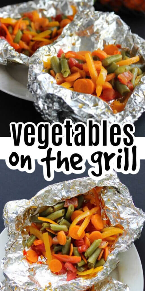 Two photos one above the other with orange and gold vegetables in a foil packet and opened after being grilled.