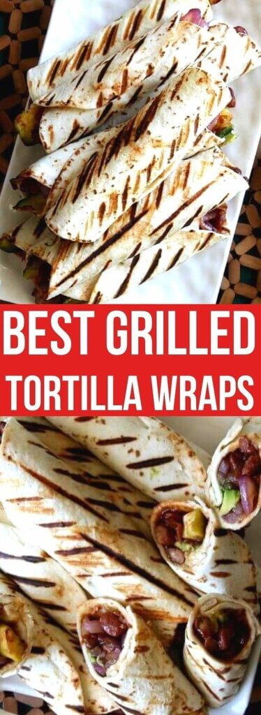 Two photos one above the other with tortilla wraps stacked in a pyramid with grill marks down the wrap/ Text in the center for pinning.