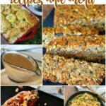 Five photos of vegan Thanksgiving recipes that are included in the post.